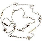 Art Nouveau Long Gold Tone Floral Necklace
