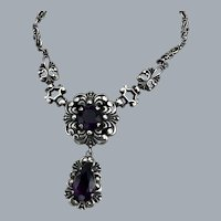 Neo Gothic Silver And Amethyst Floral Necklace Stamped Free Shipping