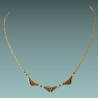 Art Deco Gold Plated Necklace