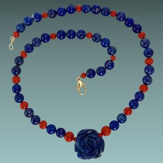 Lapis lazuli And Coral Beads Necklace 18K Gold Closure