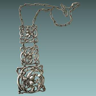 Art Nouveau Silver Plate Floral Dangle Necklace