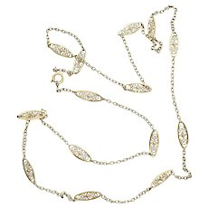 Long Antique Gold Plated Link Necklace Free Shipping
