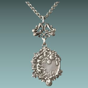 Art Nouveau Silver Pendant Necklace Stamped