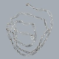 Antique Silver Link Necklace Free Shipping