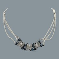 Art Deco 3 Strands Silver Necklace Free Shipping