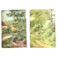 Oil On Wood Post Impressionism landscape And Village