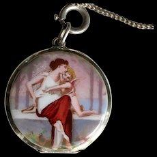 Antique Silver Enamel Pendant Necklace