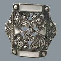 Art Deco Floral Sterling Marcasite Ring Size 6.75 Free Shipping