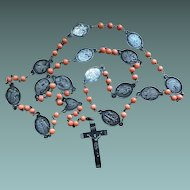 Long Antique Silver And Coral Beads  Rosary Victorian Italian Jewelry Stamped