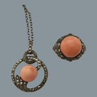 Art Deco Coral Silver Set Free Shipping