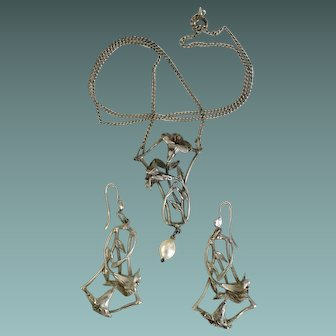 Art Nouveau Floral Silver Set French Jewelry