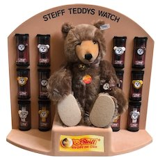 Vintage Steiff Teddys Watch Display w/ Bear and Watches