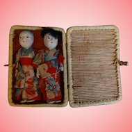 Pair Vintage Ichimatsu Gofun Asian Dolls in Basket