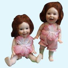Adorable Pair of Porcelain Dolls by Doll Artist Jane Bradbury