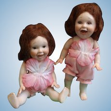 Adorable Pair of Porcelain Dolls by Doll Artist Jane Bradbury
