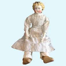 Beautiful German Tinted Bisque Doll w/ Great Dress End Of Summer Sale!
