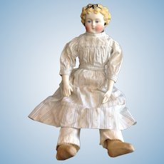 Beautiful German Tinted Bisque Doll w/ Great Dress