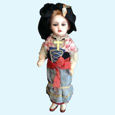 Cabinet Size Antique French Bisque Doll in Regional Costume End of Summer Sale!