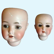 Pair of Antique Bisque Doll Heads - Kestner 196 & S & H 927