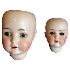 Pair of Antique Bisque Doll Heads - Kestner 196 & S & H 927