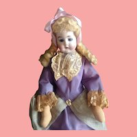 """11 1/2"""" Mystery Doll With Bisque Mask Face on Cloth Body - All Original ca. 1920-1930's"""