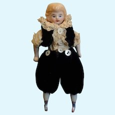 Small Antique German Molded Hair Bisque Doll
