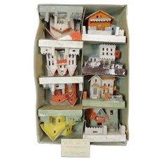 Wonderful Set of 8 1930's Putz Christmas Village Houses w/ Original Box Made in Japan