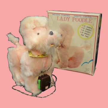 Vintage Pink Lady Poodle Battery Powered Remote Control Toy Japan