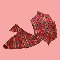 Vintage Shirley Temple Red Plaid Cape with Matching Umbrella