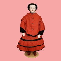 Magnificent 22 Inch China Head Doll w/ China Hands & Fabulous Red Boots