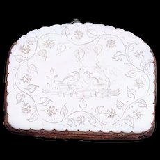 Victorian mother of pearl coin purse with etched design 19th century