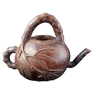 Antique Chinese carved bamboo root in the shape of a teapot 19th century