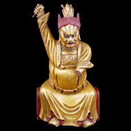 Gilded Wood Chinese temple guardian late 19th Century