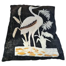 Aesthetic Movement Victorian wool decorative pillow with crane and water weed design late 19th century