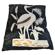 Victorian decorative pillow with crane and water weed design late 19th C