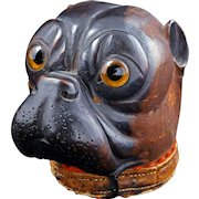 Black Forest German wood inkwell of a bulldog late 19th century