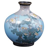 Japanese light blue cloisonné vase with chrysanthemum design Meiji period circa 1900