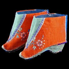 Chinese tiny pair of red, blue and turquoise silk shoes for bound feet circa early 20th century