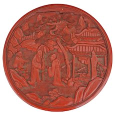 Chinese cinnabar lacquer cylindrical box of sages with their attendant - 19th century
