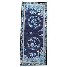Antique Chinese silk embroidery blue on blue with waves and flowers circa 1900