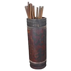 Chinese fortune telling bamboo holder and bamboo fortunes 19th century