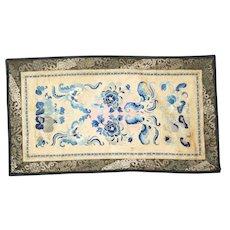 Chinese silk sleeve panels in satin and pekin knot stitch 19th century