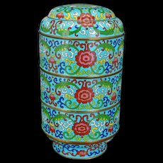 Antique Qing Dynasty Cloisonné Stacking Food Containers 19th Century