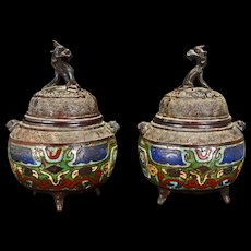 Matched Pair of Japanese Champlevé Bronze Censers with Kirin Finials circa 1900