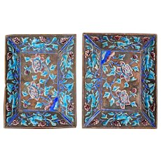 Chinese Matched Pair of Shallow Enameled Rectangular Copper Dishes circa 1900