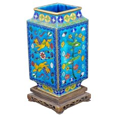 Japanese Diamond Shaped cloisonné Vase with Stand early 20th Century