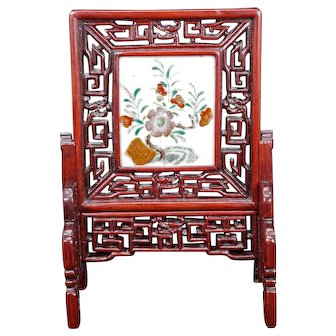 Chinese Painted Porcelain and Rosewood Table Screen Republic Period