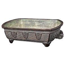 Japanese Bronze Footed Flower Arranging Vessel Meiji Period or Bonsai Planter