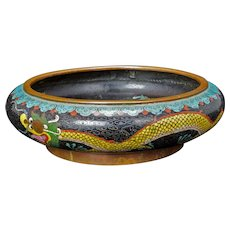 Chinese Daoguang Marked Cloisonné Five Claw Dragon Brush Wash Bowl 19th Century