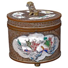 Chinese Lidded Enamel on Copper Box Circa 1900